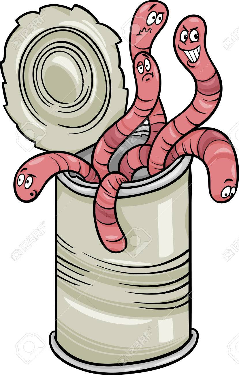 Cartoon Humor Concept Illustration Of Can Of Worms Saying Or