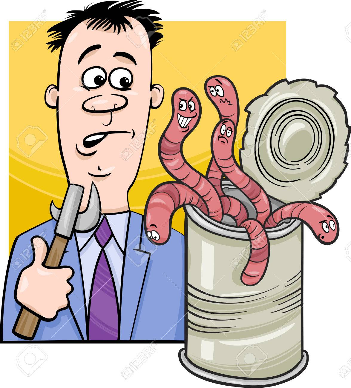 Cartoon Humor Concept Illustration Of Open Can Of Worms Saying