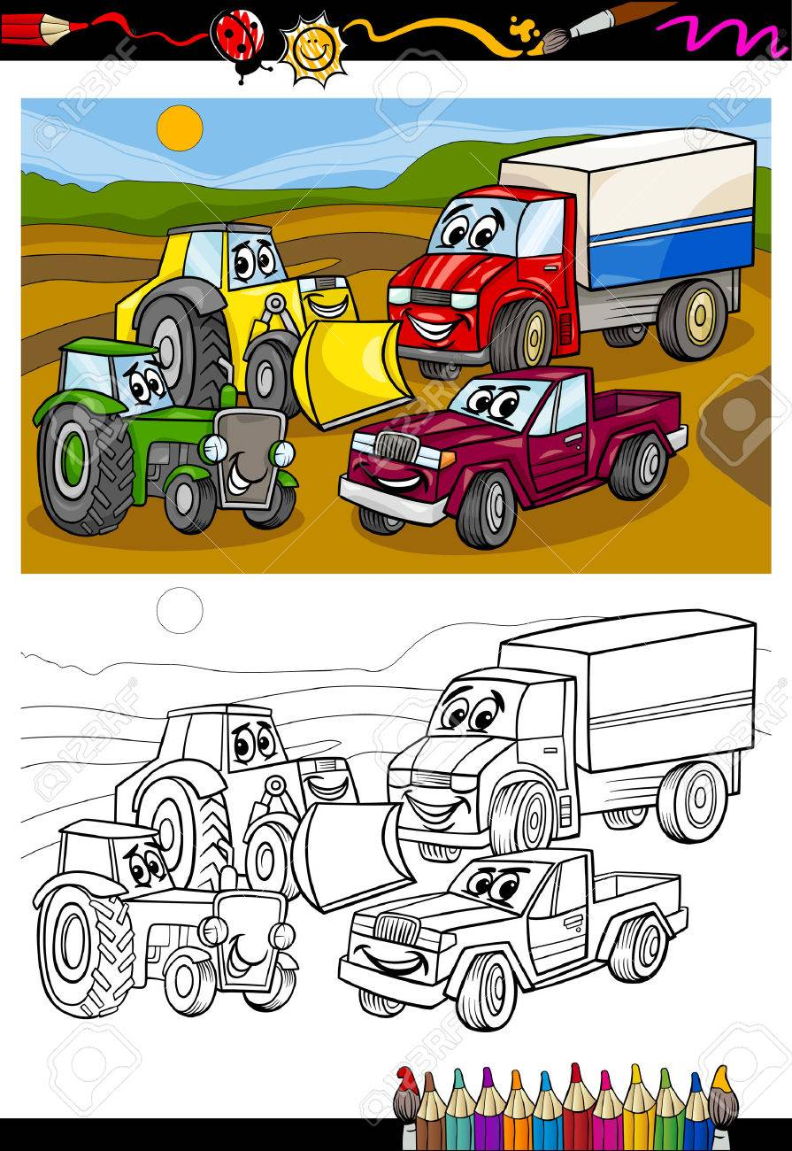 Coloring Book Or Page Cartoon Illustration Of Vehicles And Machines Trucks Cars Comic Characters For