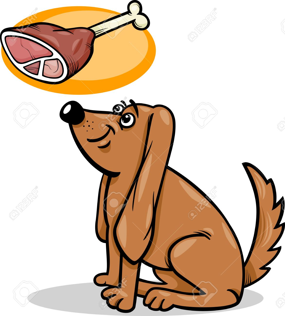 cartoon illustration of cute hungry dog and haunch with bone royalty rh 123rf com Funny Hungry I'm Hungry Clip Art