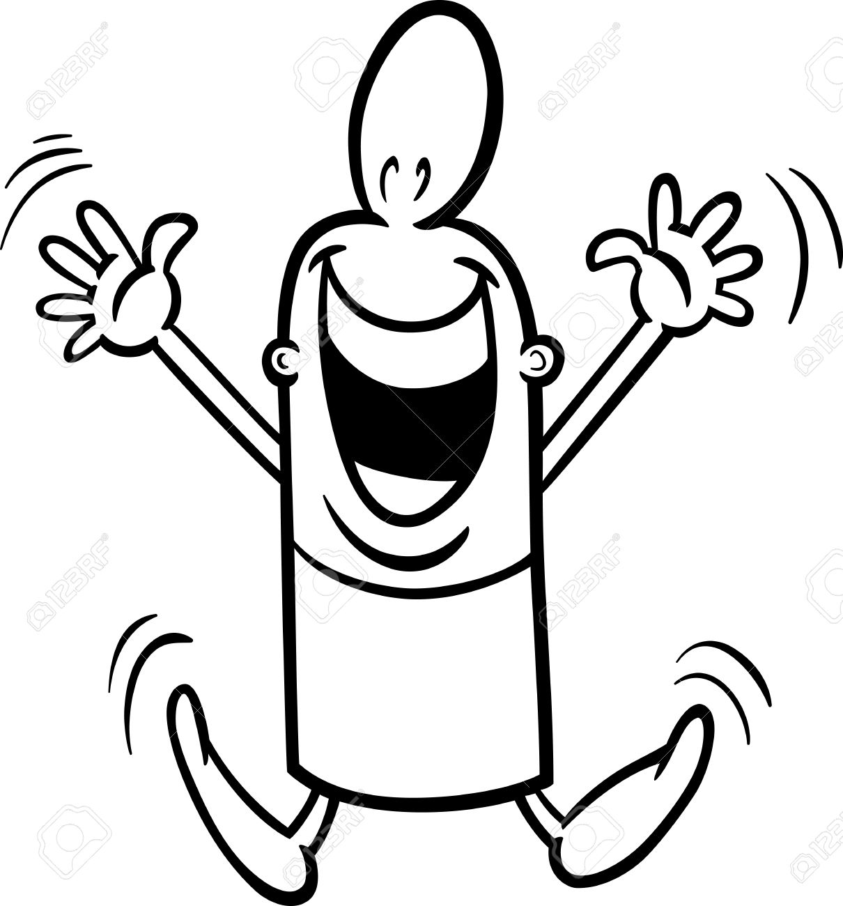 black and white cartoon illustration of happy or excited funny guy character for coloring book stock - Funny Coloring Pictures