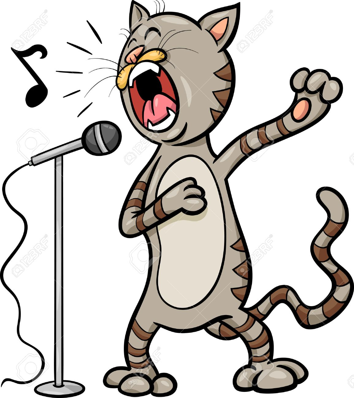 cartoon illustration of funny singing cat character royalty free rh 123rf com funny black cat clipart funny kitty clipart