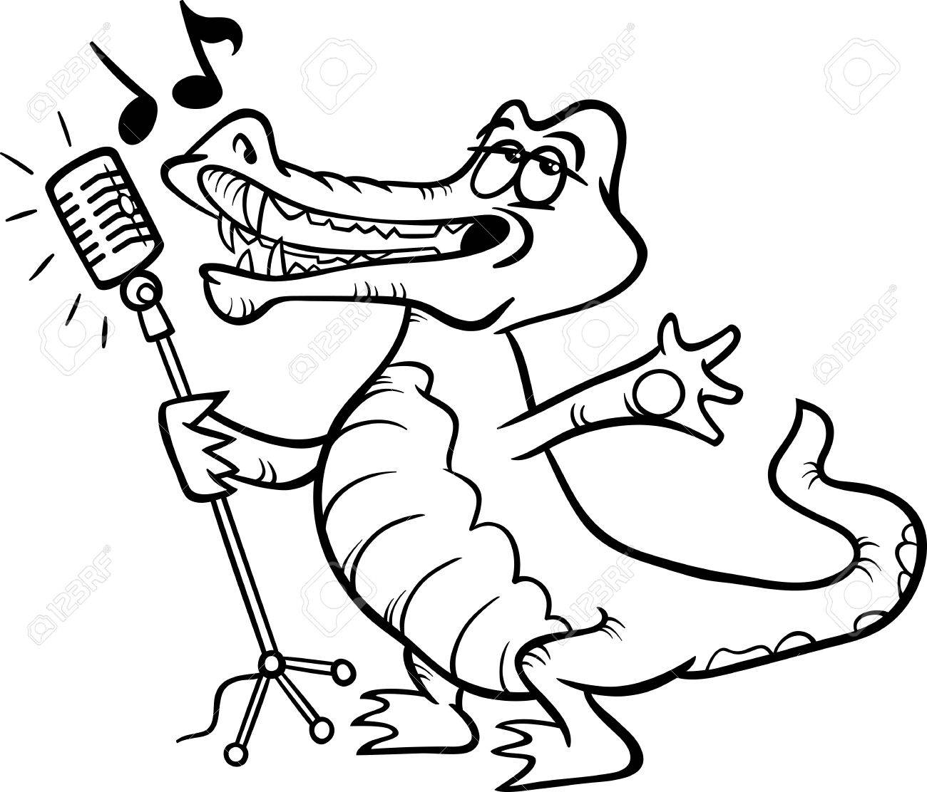 black and white cartoon illustration of funny singing crocodile royalty free cliparts vectors and stock illustration image 27355373 black and white cartoon illustration of funny singing crocodile