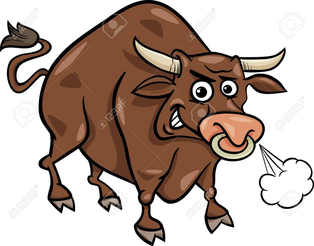 Cartoon Illustration Of Funny Farm Bull Animal Royalty Free ...