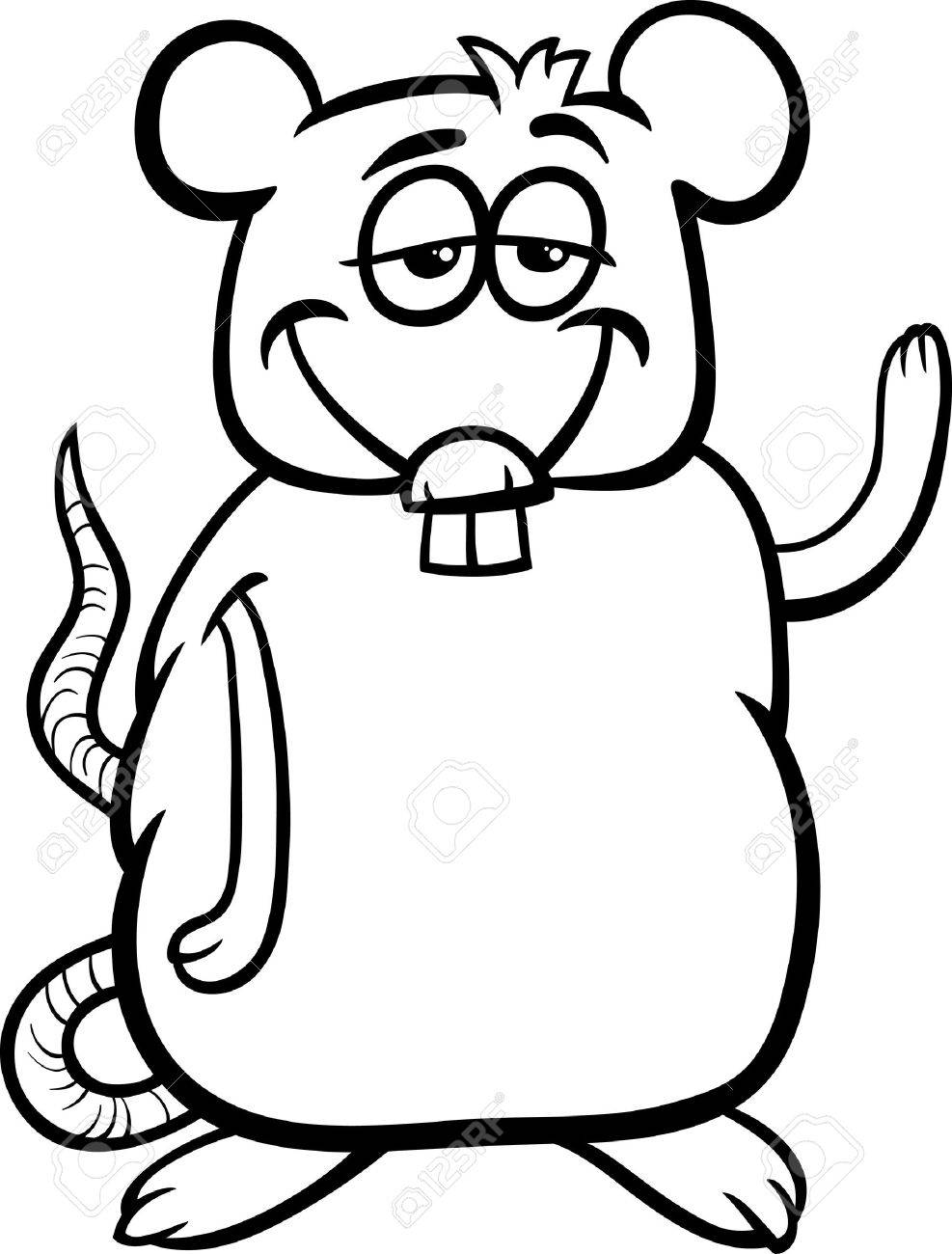 Black And White Cartoon Illustration Of Funny Rat Character For Coloring  Book Stock Vector  27355470