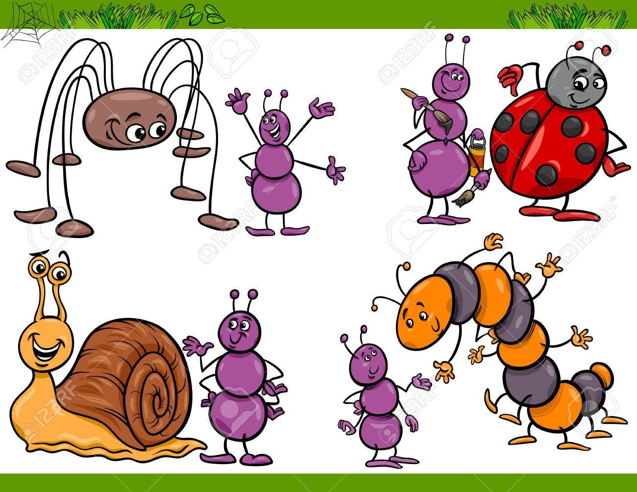 cartoon illustration of happy insects or bugs set like ant or