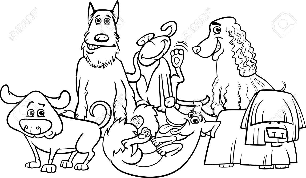 black and white cartoon illustration of cute dogs characters