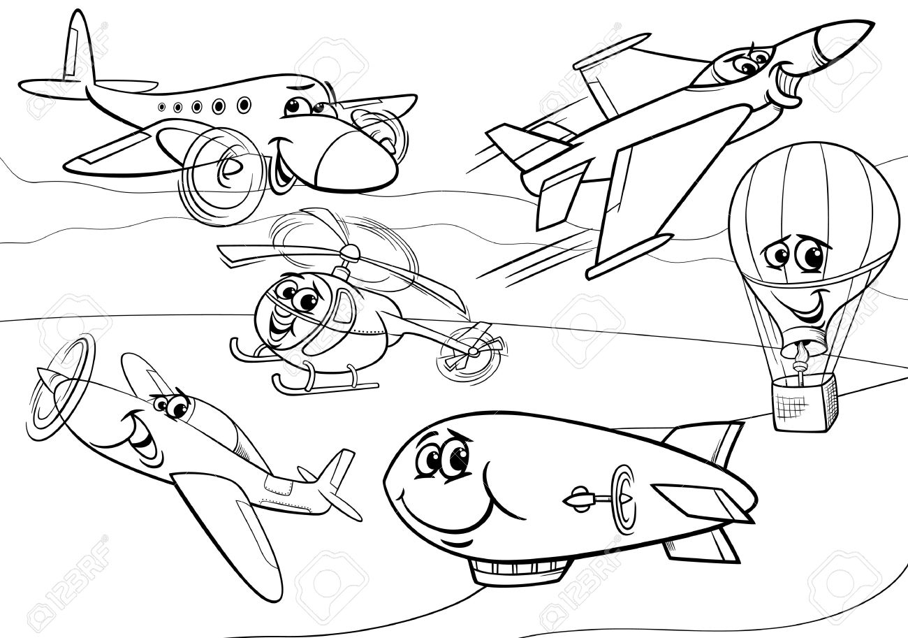 black and white cartoon illustration of funny planes and aircraft