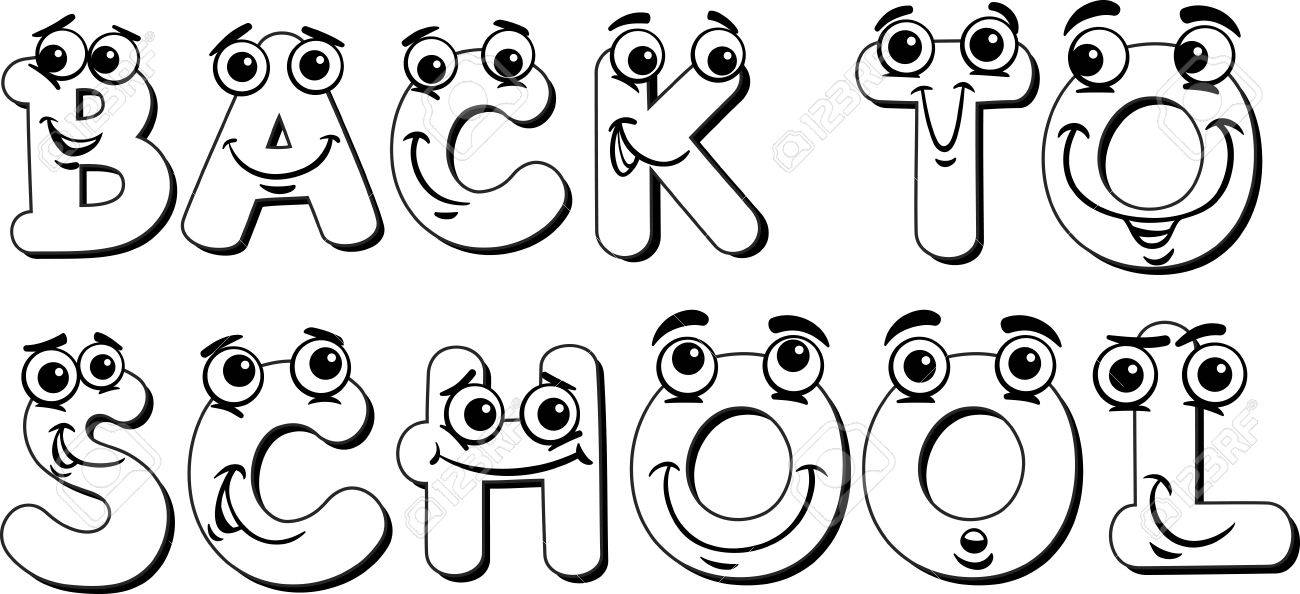 Black And White Cartoon Illustration Of Back To School Sign Design
