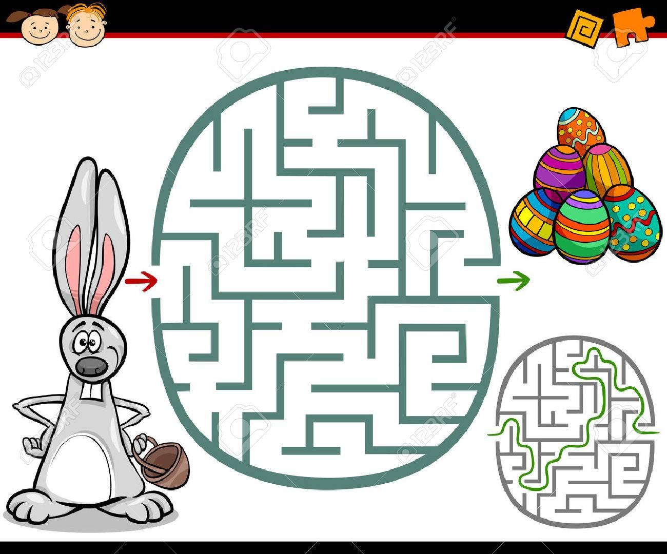 イースターのテーマに幼児の教育の迷路や迷宮ゲームの漫画の実例の