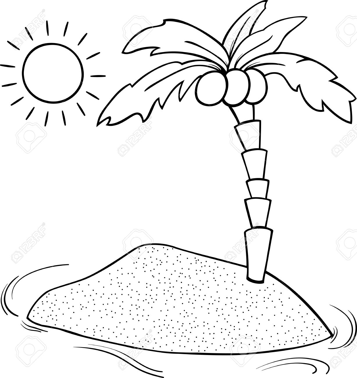 Black And White Cartoon Illustration Of Desert Island With Coconut ...
