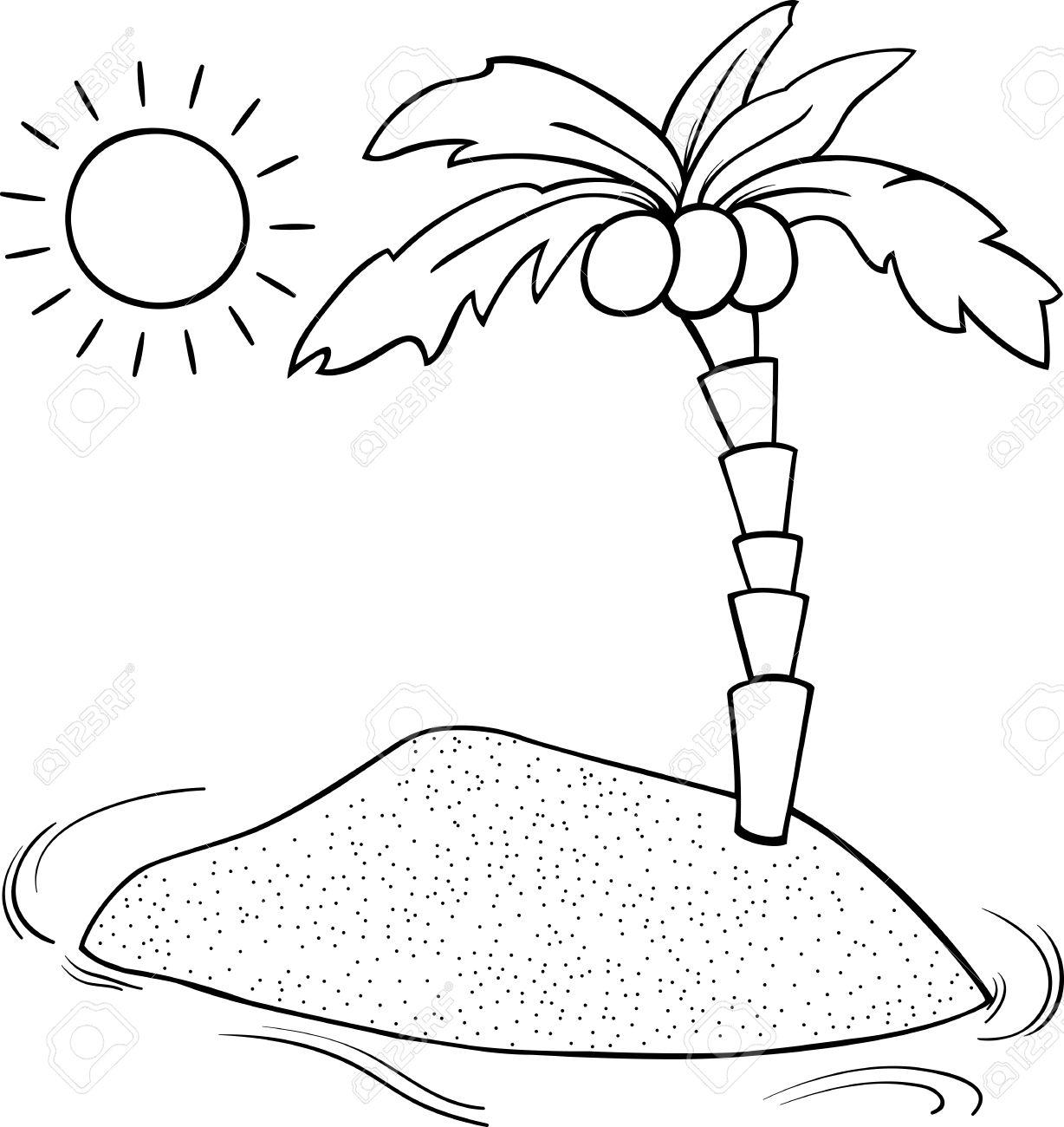 Schwarz-Weiß-Karikatur Illustration Von Desert Island Mit ...