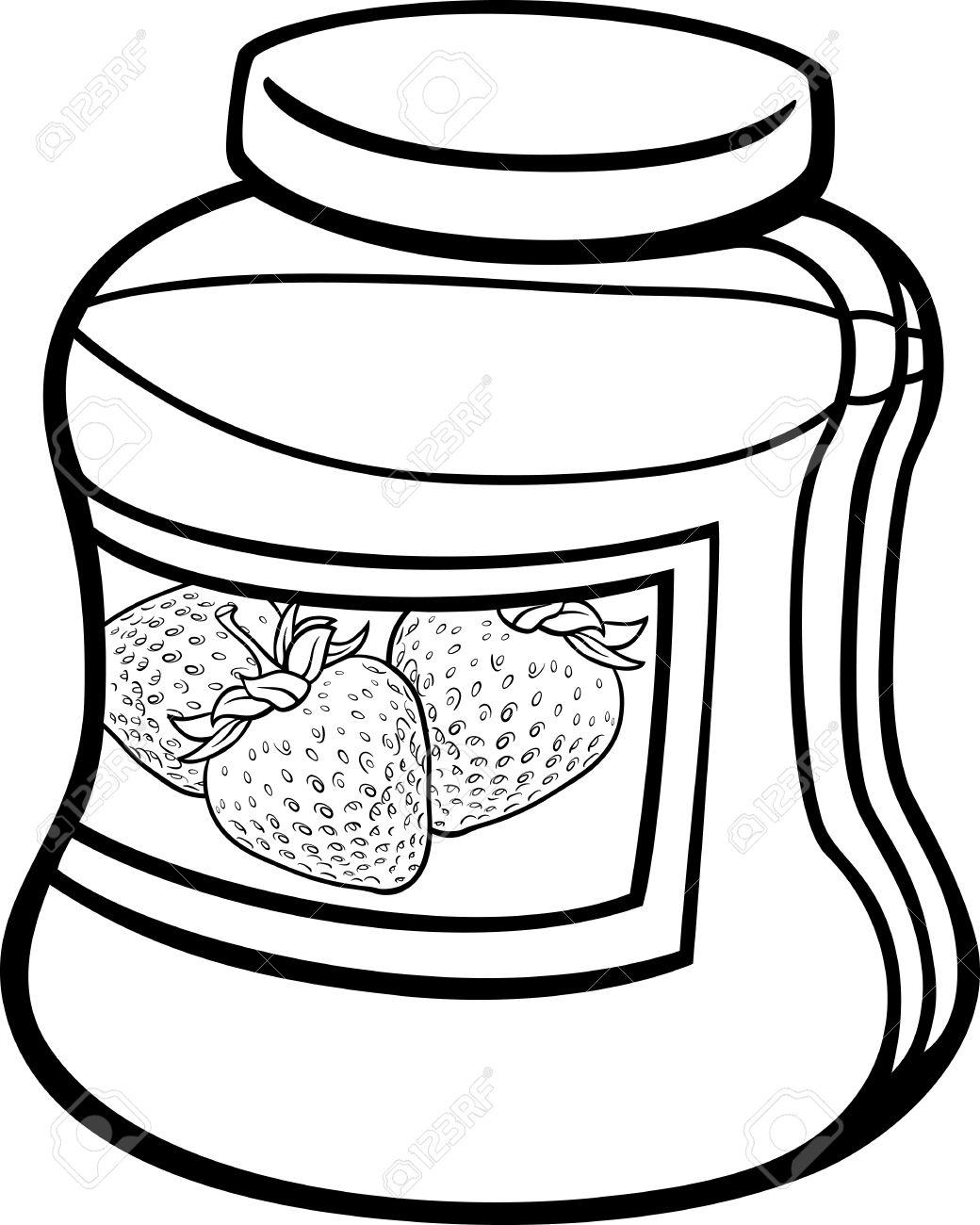 Blanco Y Negro De Dibujos Animados Ilustración De La Mermelada De Fresa En Un Tarro De Cristal Para Coloring Book
