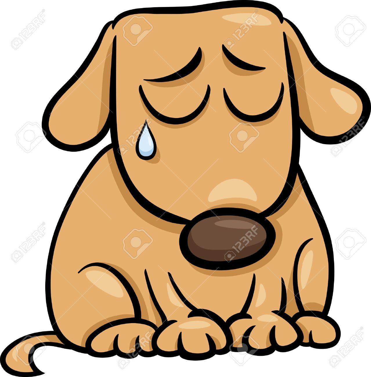 Ilustración De Dibujos Animados De Perro Triste Lindo Perrito O