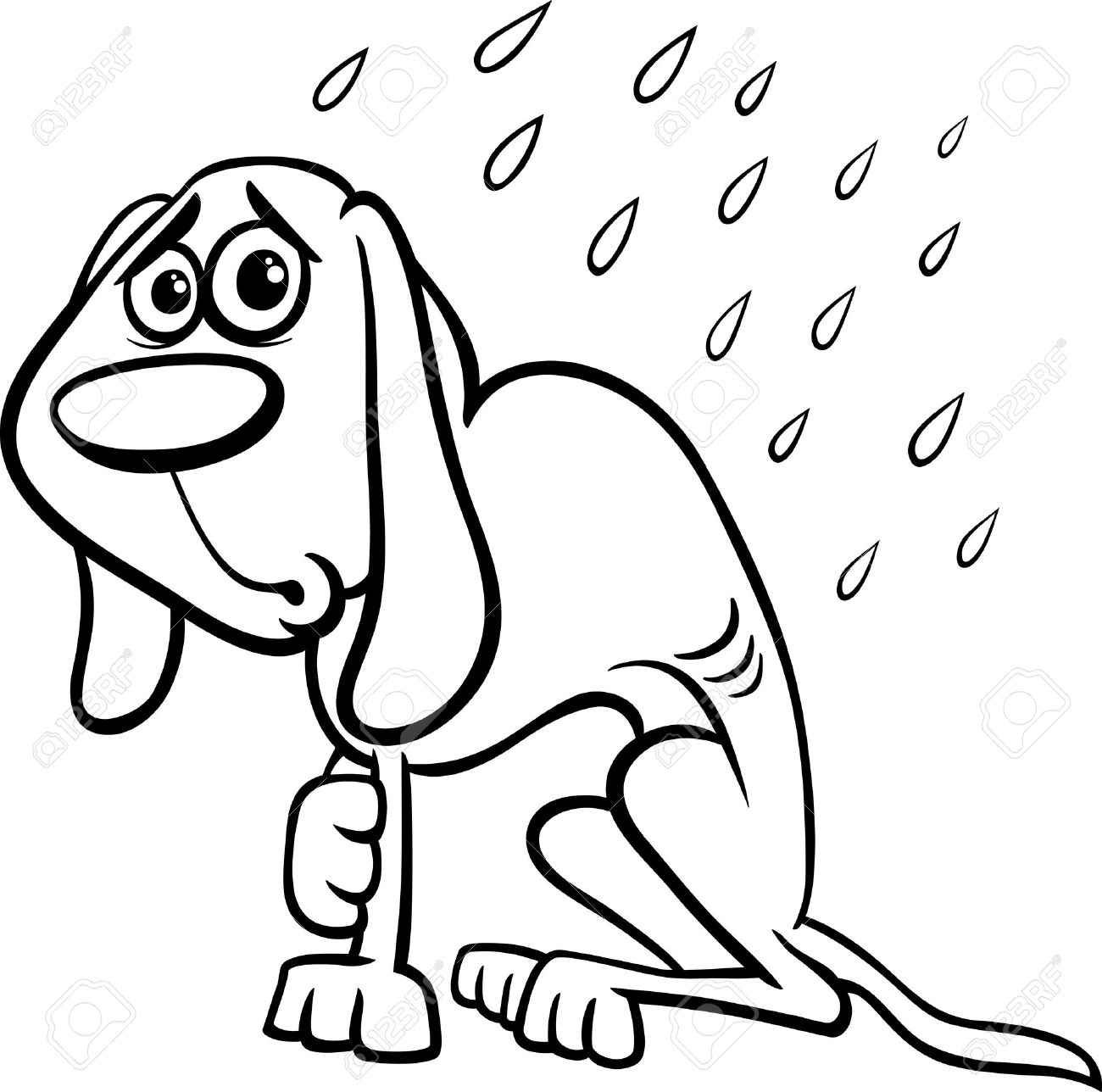 Black And White Cartoon Illustration Of Poor Homeless Dog In The Rain For Coloring Book Stock
