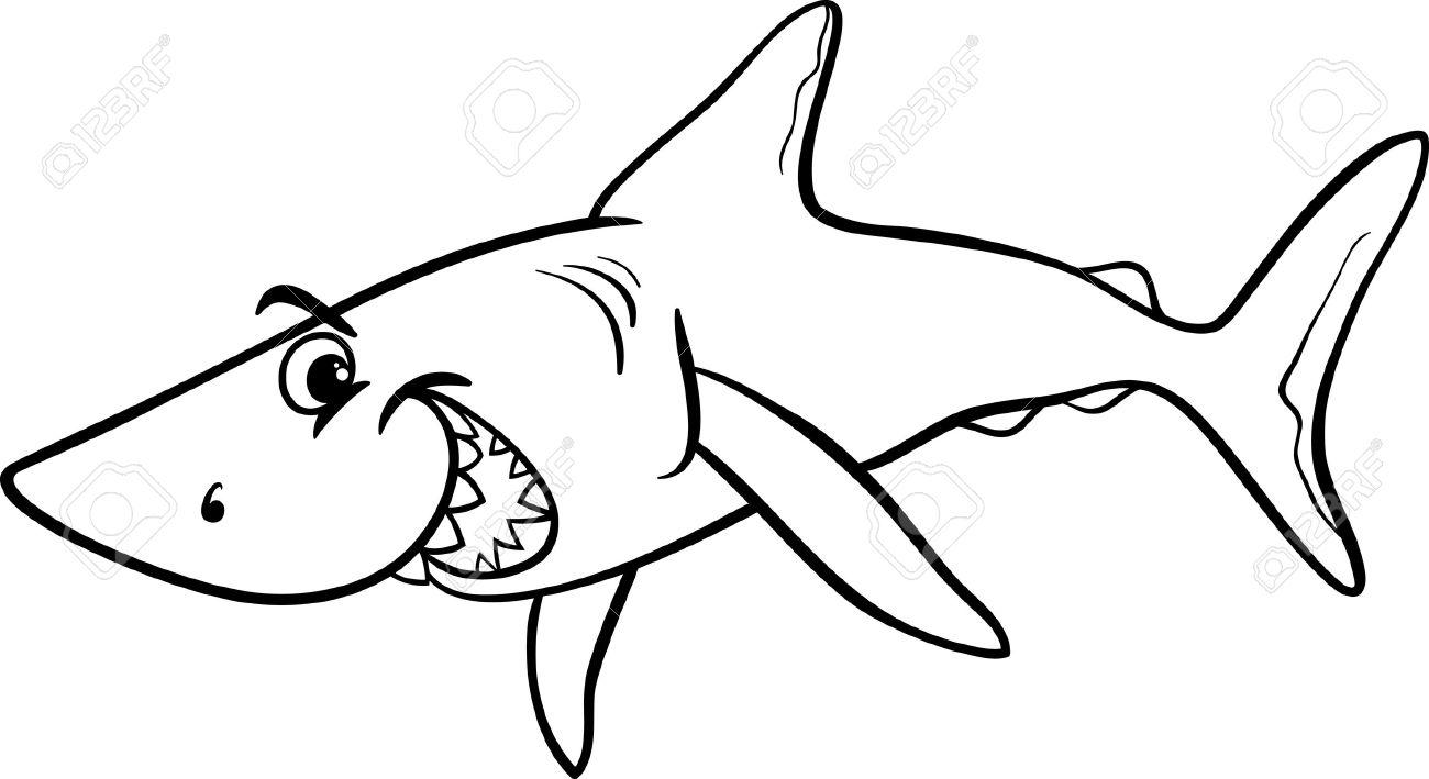 サメ魚ライフ海獣塗り絵用の黒と白の漫画イラスト