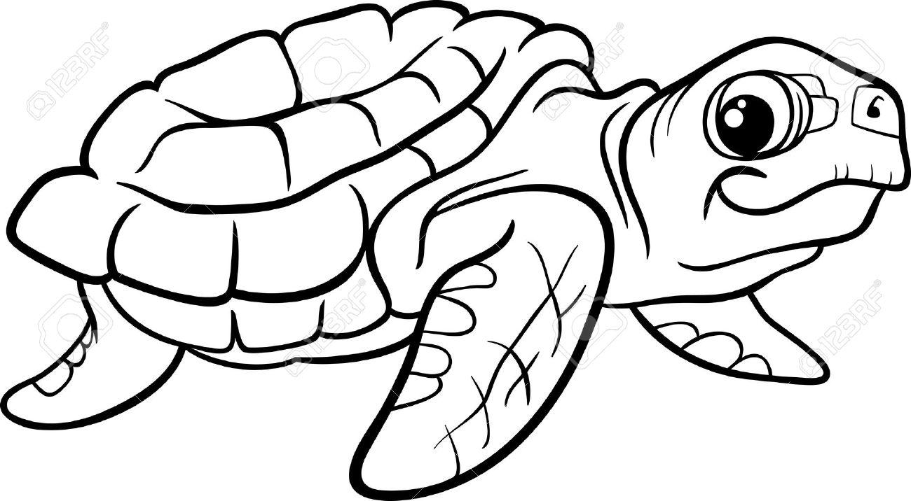 Black And White Cartoon Illustration Of Sea Turtle Reptile Animal ...