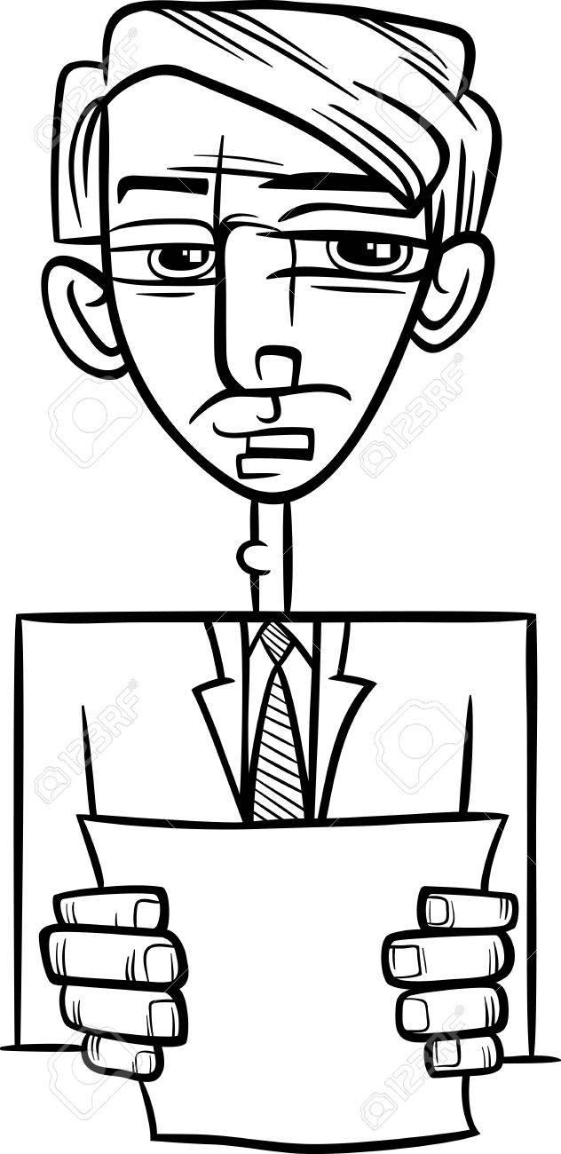 Blanco Y Negro De Dibujos Animados De Ilustración Del Hombre En