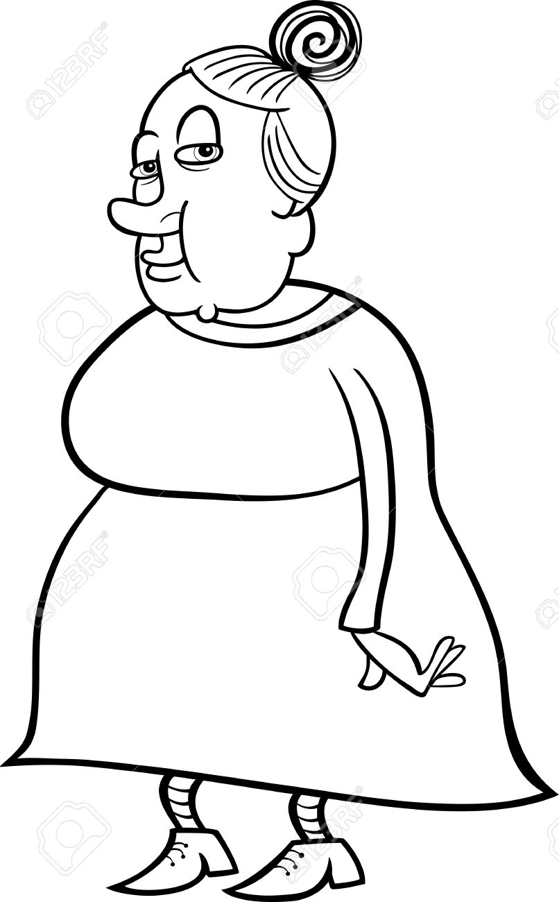 Black And White Cartoon Illustration Of Elder Woman Senior Or