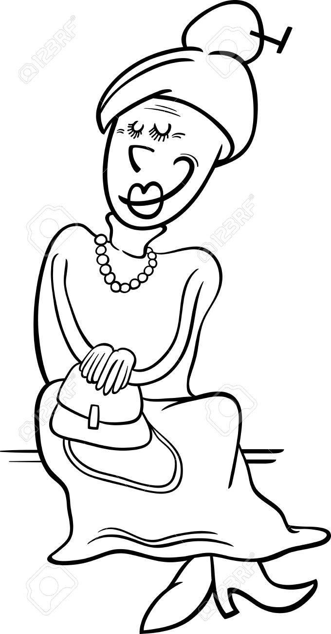Dessin Anime Noir Et Blanc Illustration De Personnes Agees Femme