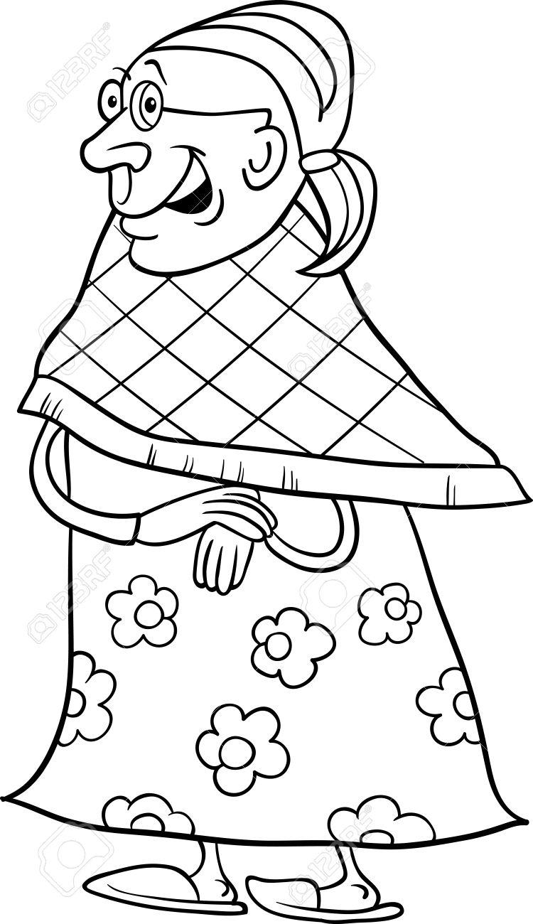 高齢者の女性高齢者塗り絵の祖母の黒と白の漫画イラストのイラスト素材