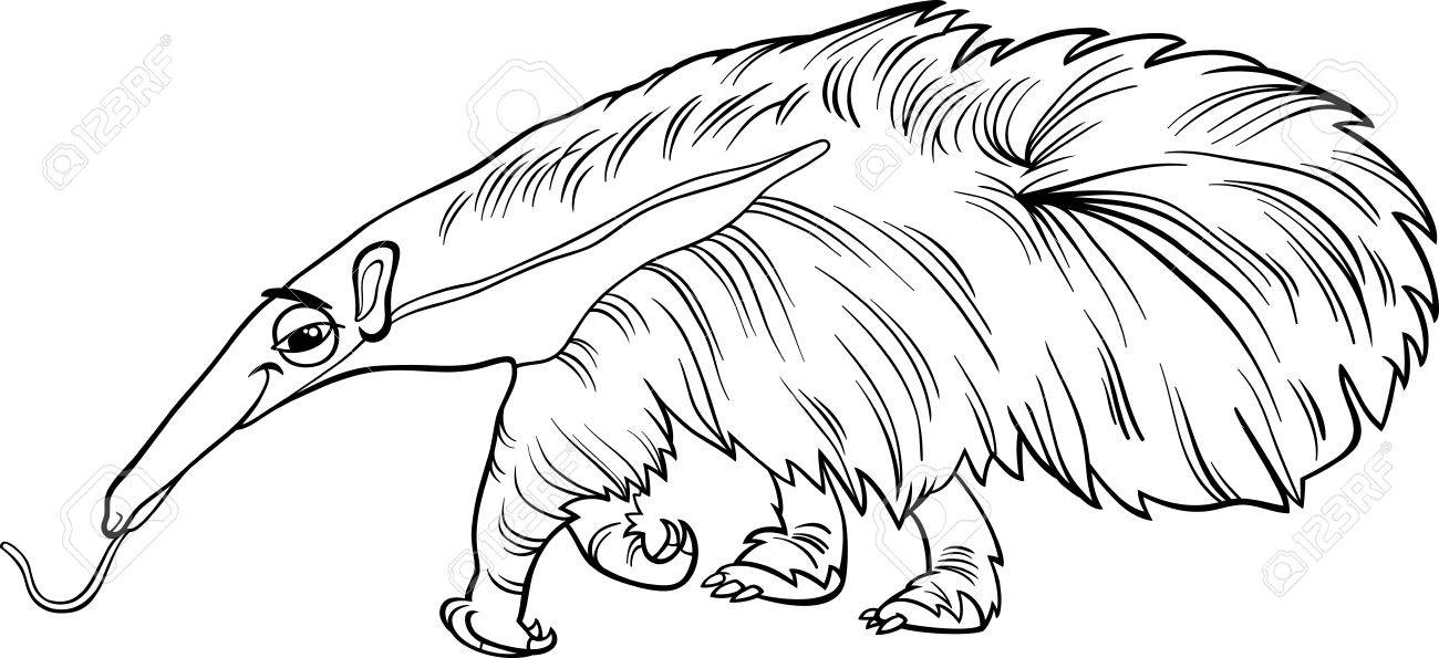 Black And White Cartoon Illustration Of Cute Giant Anteater Animal For Coloring Book Stock Vector