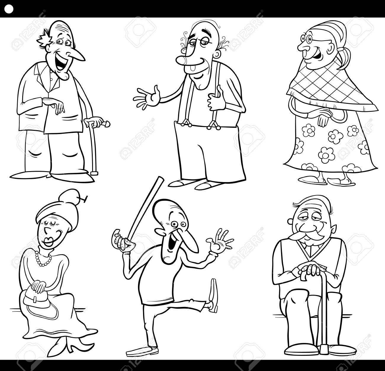 男性高齢者と女性高齢者塗り絵用の黒と白の漫画イラスト セットの