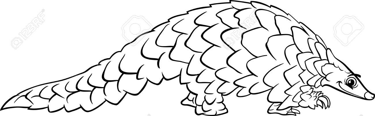 Black And White Cartoon Illustration Of Funny Pangolin Animal ...
