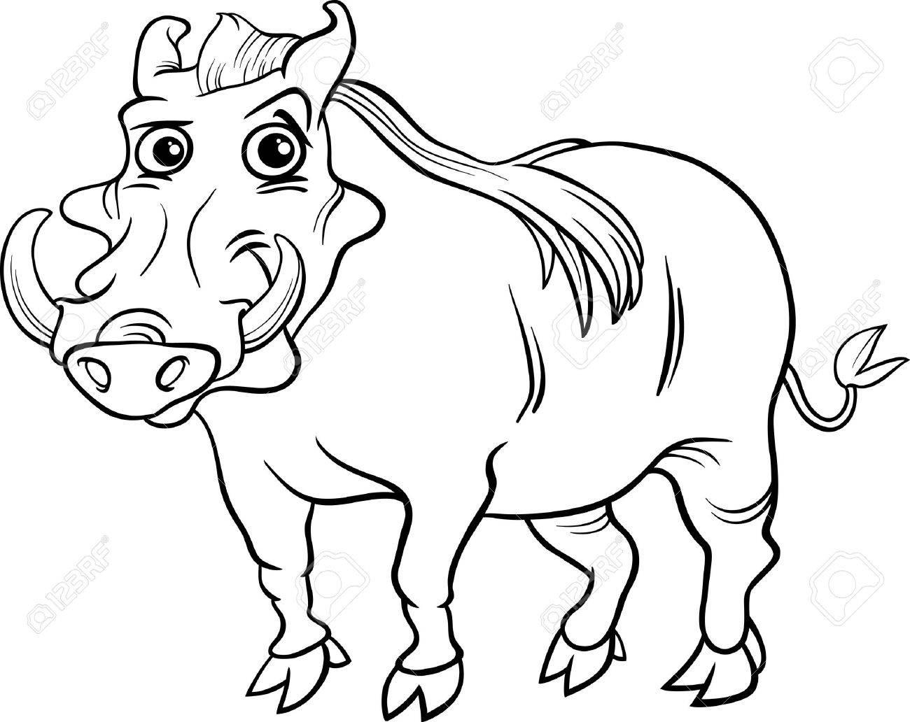 面白いイボイノシシ動物の塗り絵の黒と白の漫画イラストのイラスト素材