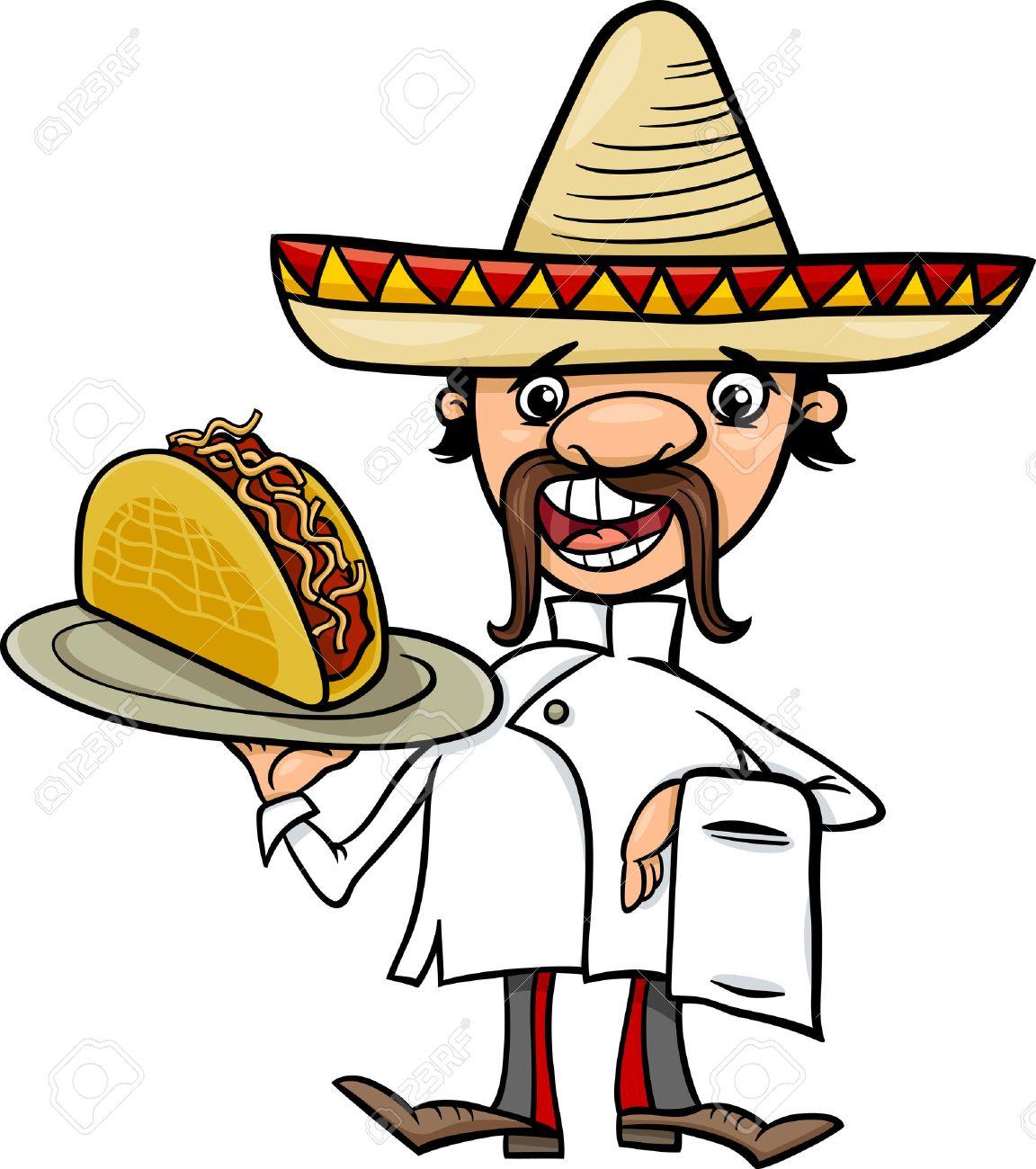 Foto de archivo - Ilustración de dibujos animados divertido del cocinero  mexicano o Camarero con Taco 6a9aae46280