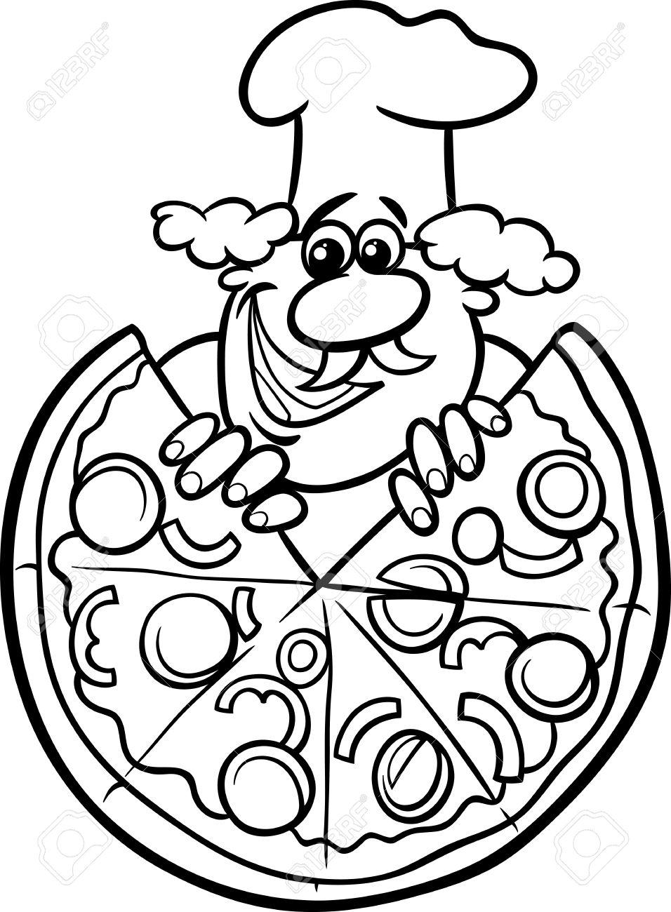 Schwarz Weiß Karikatur Illustration Der Italienischen Koch Oder