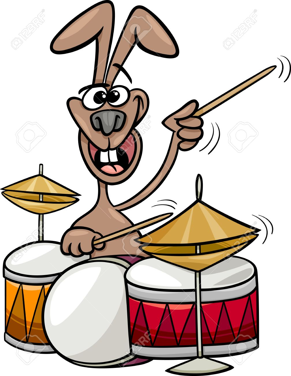 Cartoon Illustration Of Funny Bunny Playing Rock On Drums Royalty ...