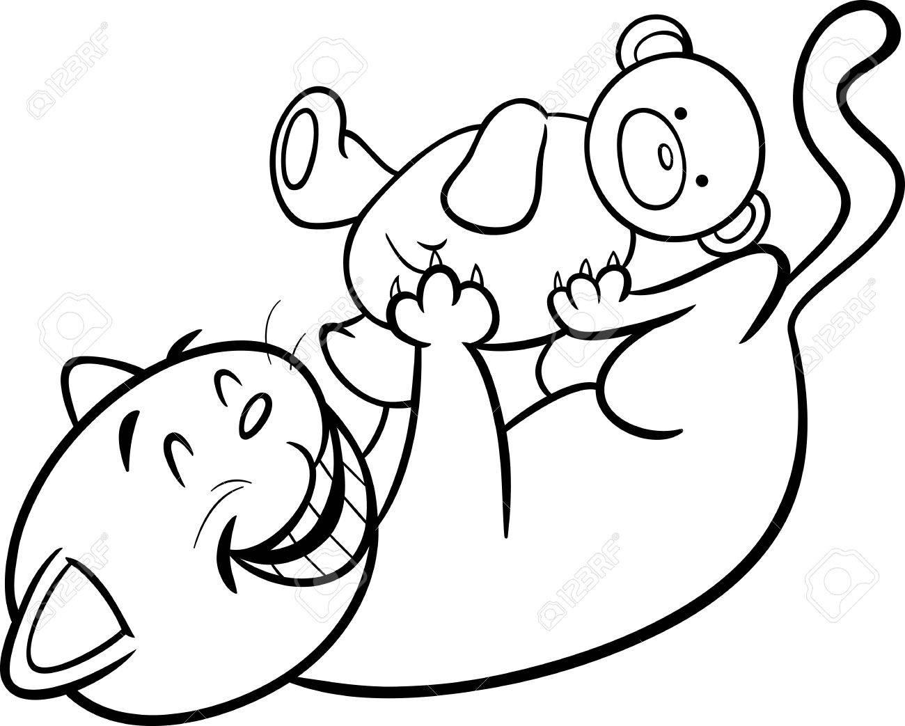 Negro Y Dibujos Animados De Blanco Ilustración De Lindo Gato Que ...