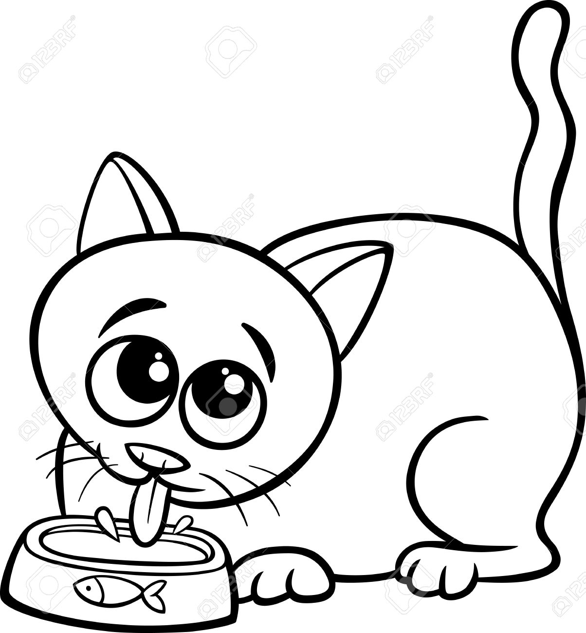 Cat Cartoon Drawing Black And White Black And White Cartoon