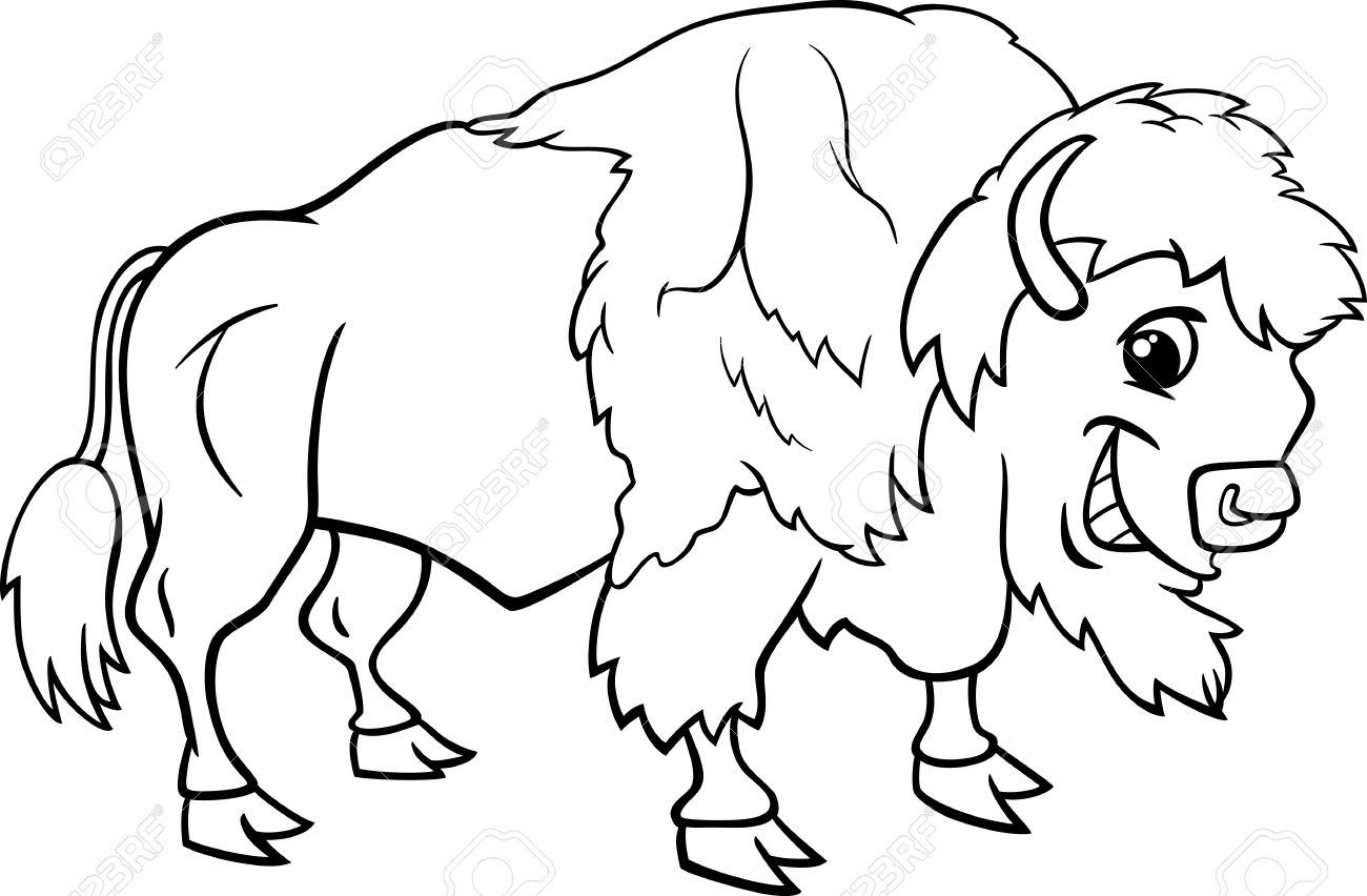 Black And White Cartoon Illustration Of Funny Bison Or American