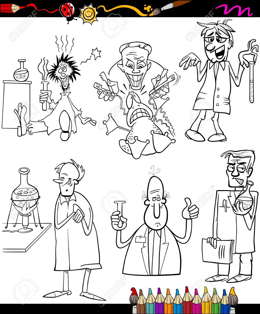Coloring Book O Página Ilustración De Dibujos Animados Blanco Y ...