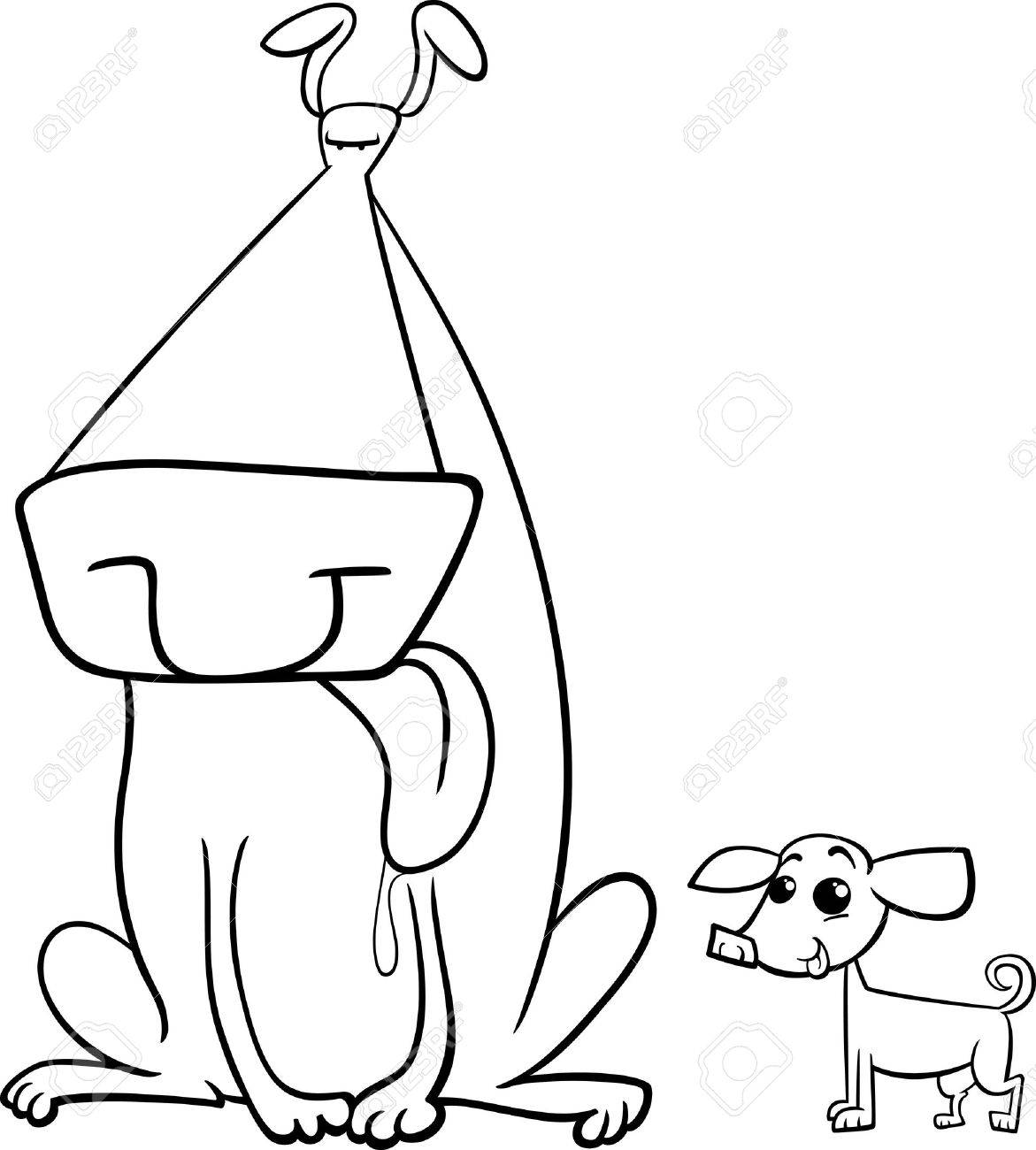 black and white cartoon illustration of big dog and small