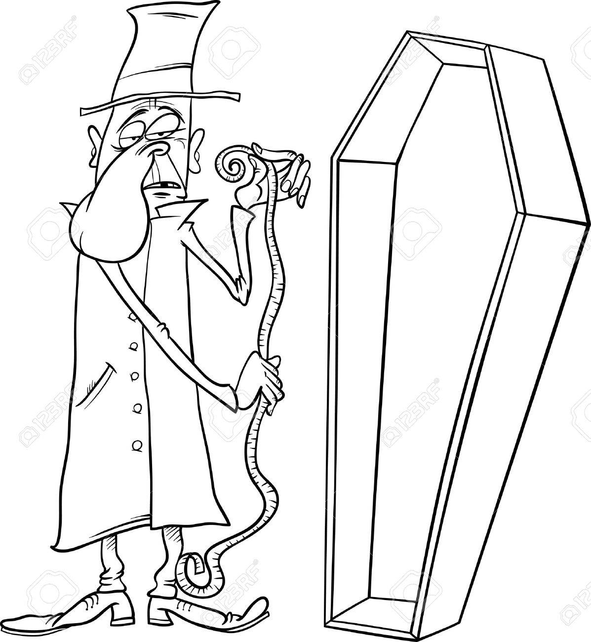 black and white cartoon illustration of undertaker with centimeter