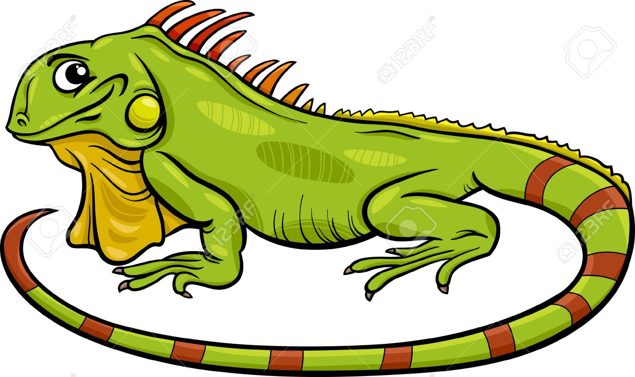 Ilustración De Dibujos Animados Divertido Del Personaje De Iguana