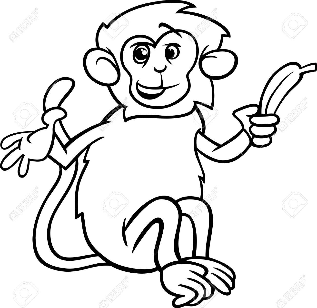 Black And White Cartoon Illustration Of Cute Monkey With Banana For Coloring Book Stock Vector