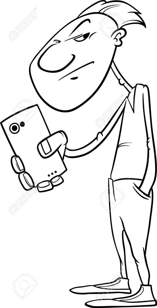 aa7543625429 Historieta blanco y negro Ilustración de hombre de disparo o de rodaje con  Smartphone para Coloring Book