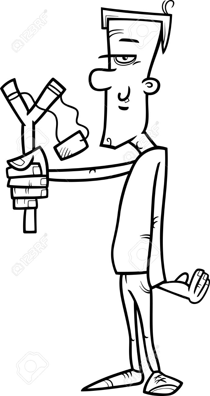black and white cartoon illustration of hooligan or rascal with