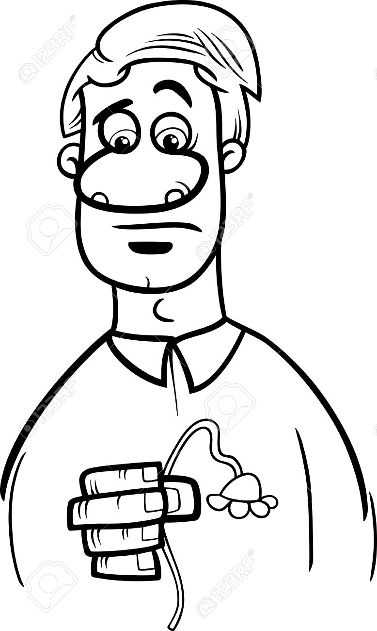 black and white cartoon illustration of sad or disappointed man