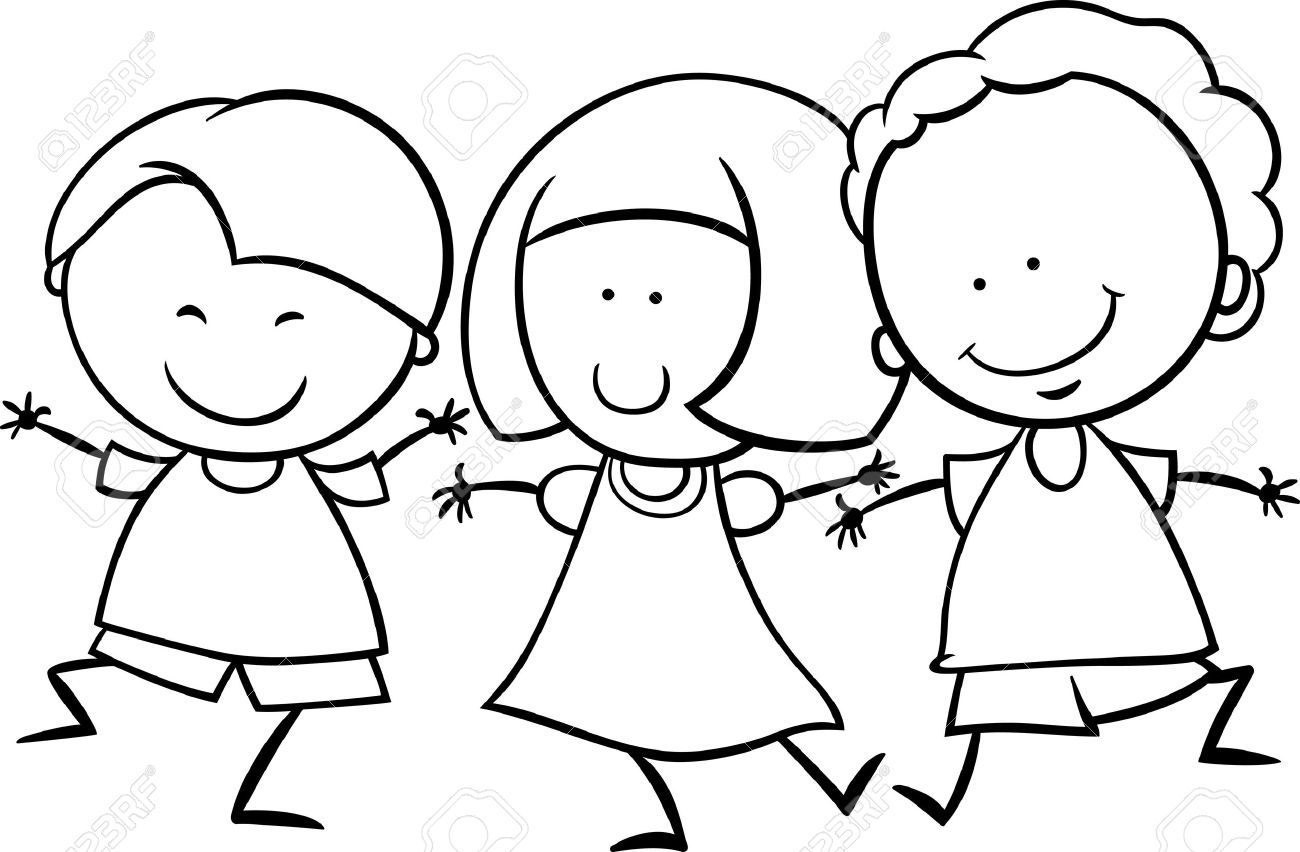 black and white cartoon illustration of cute happy multicultural