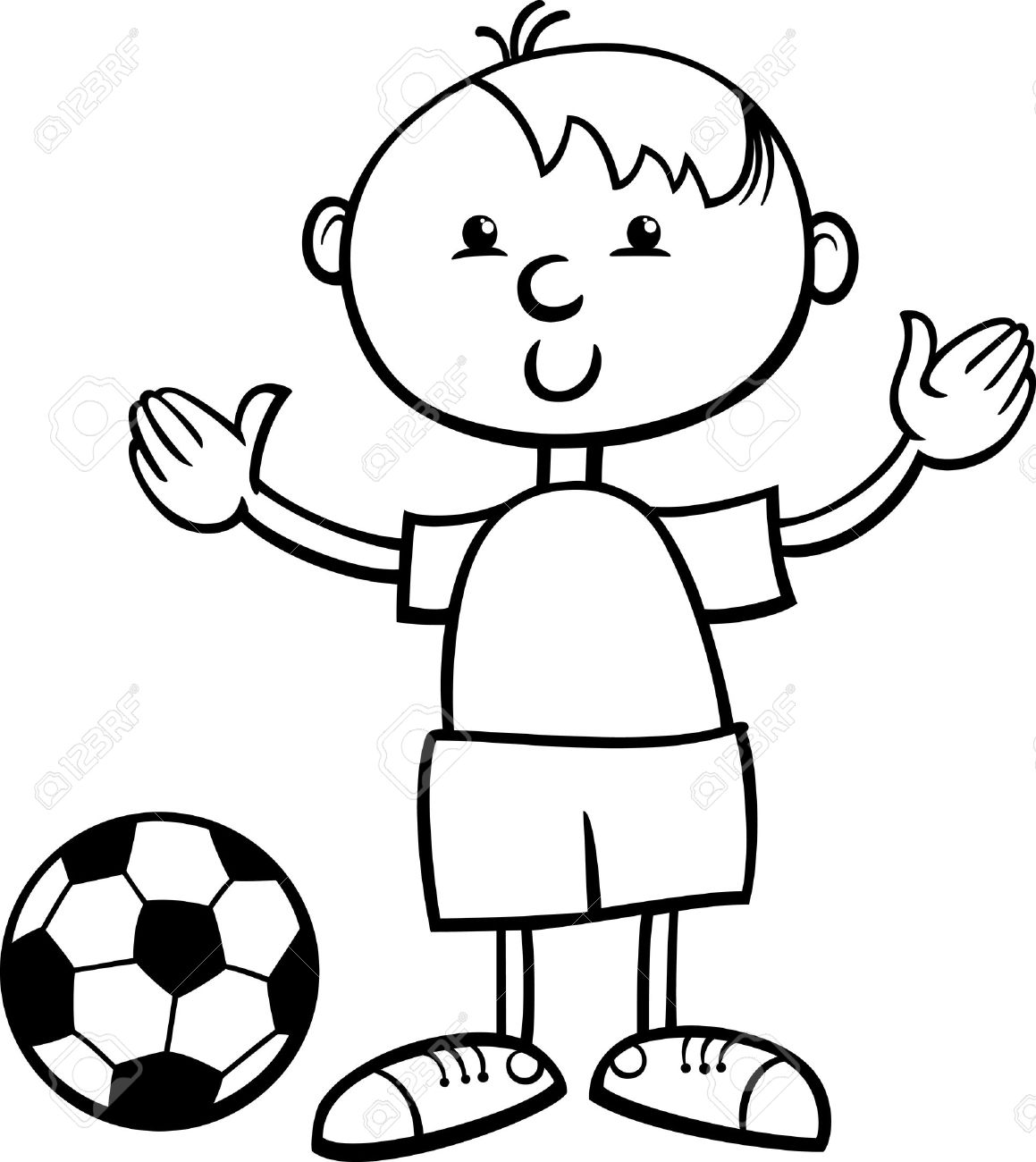 Black and White Cartoon Illustration of Cute Little Boy with..