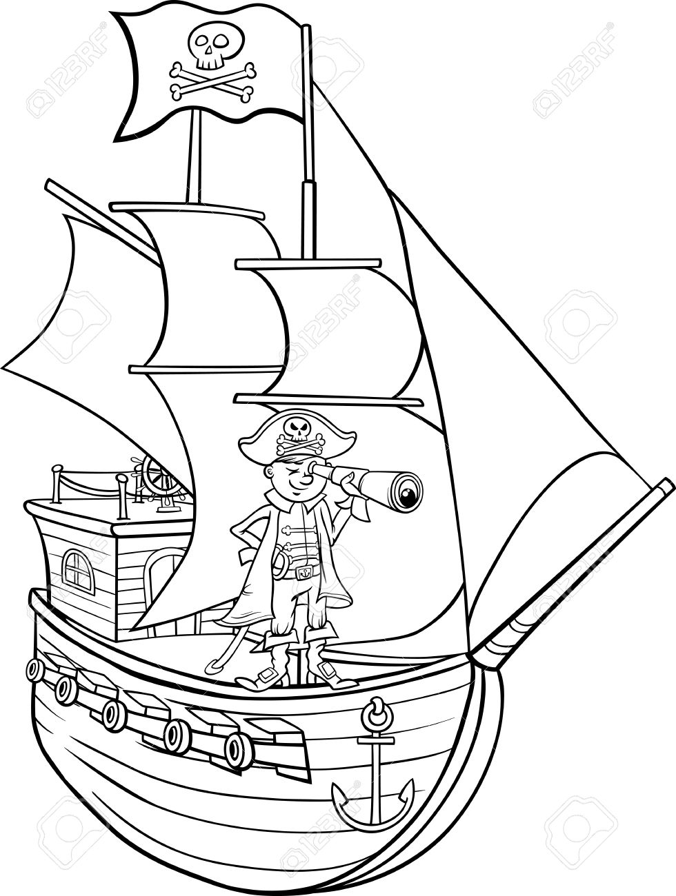 Black And White Cartoon Illustration Of Funny Pirate Captain With Spyglass Ship Jolly Roger