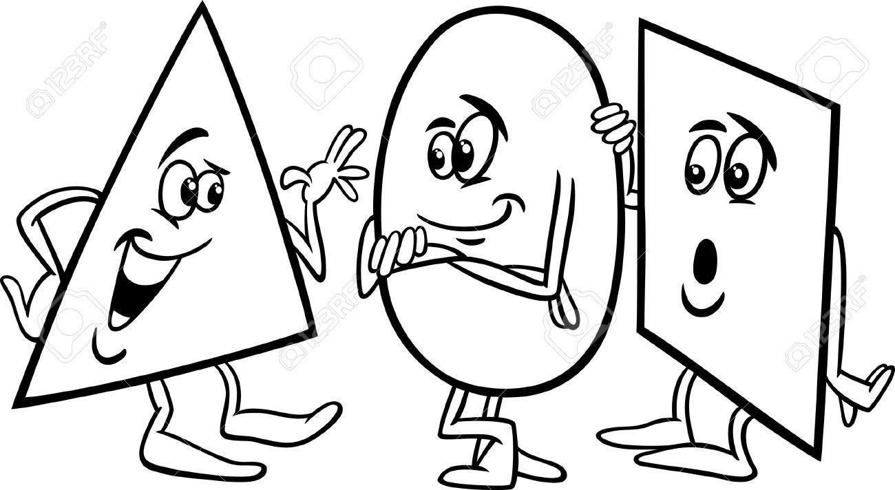Historieta Blanco Y Negro Ilustración De Funny Triángulo Círculo Y ...