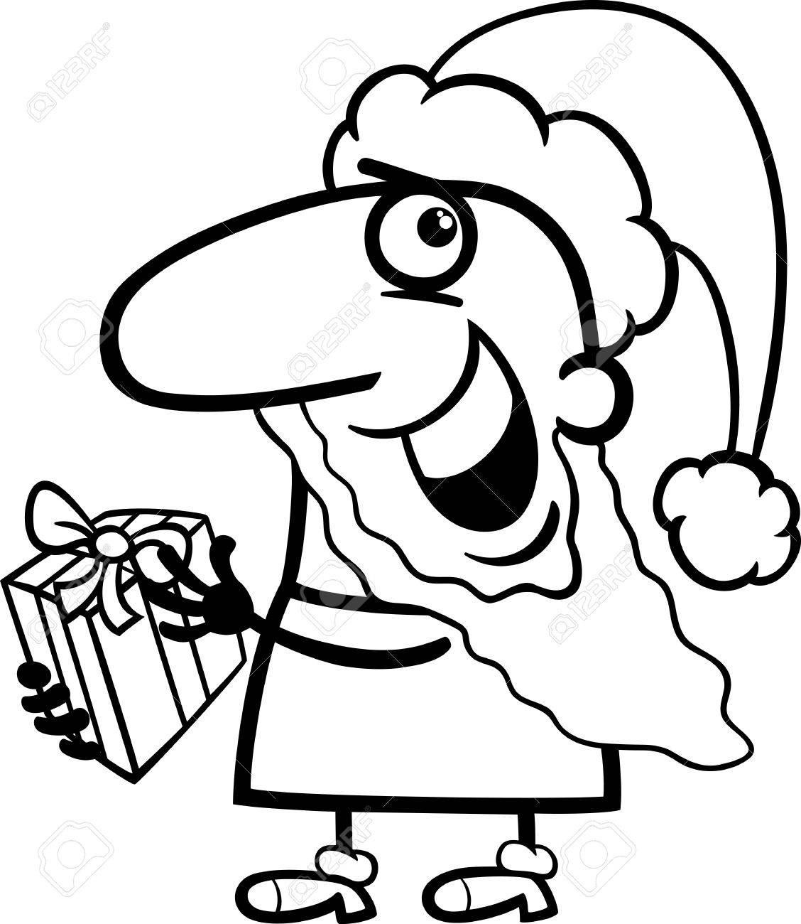 塗り絵のクリスマス プレゼントで面白いサンタ クロースの黒と白の漫画