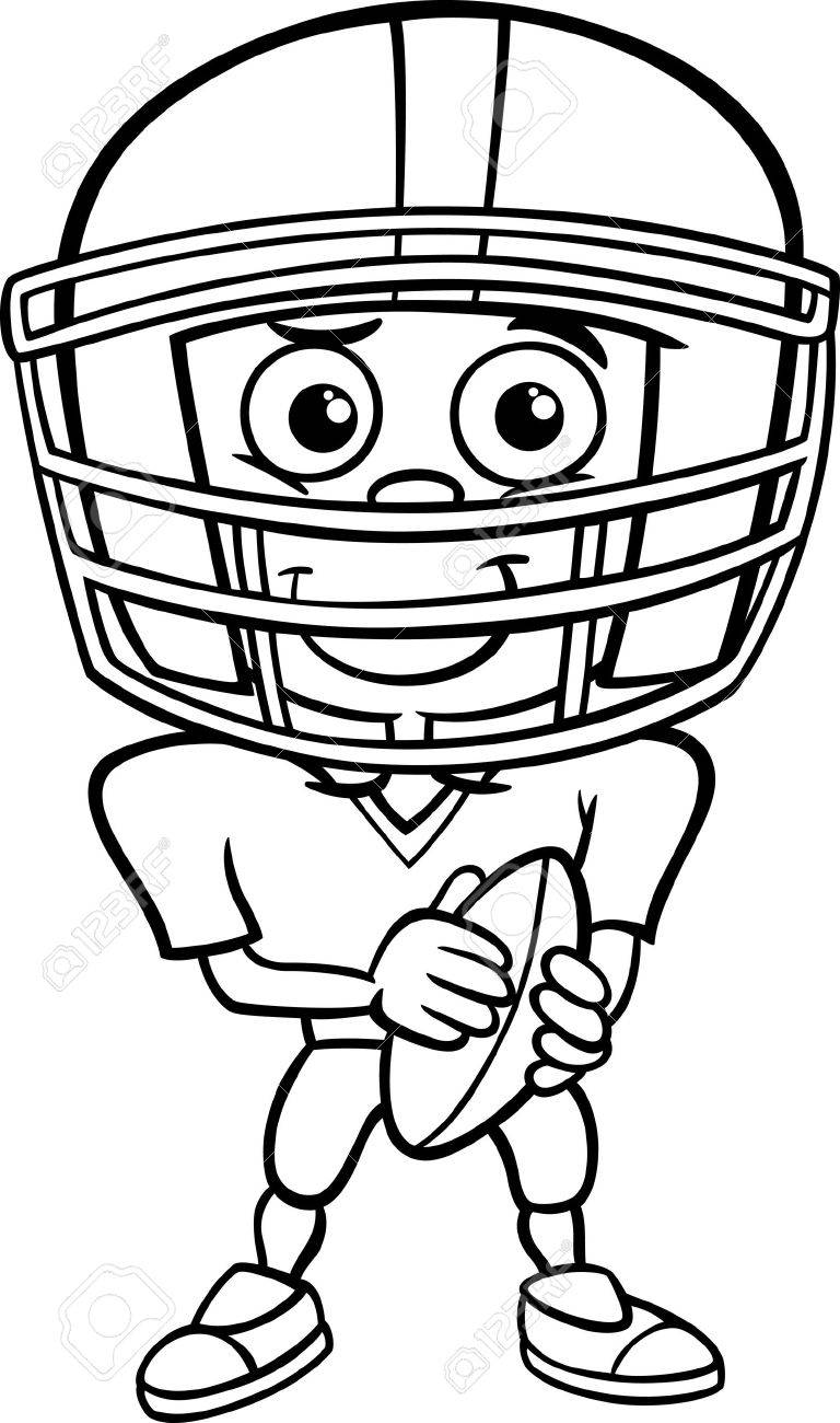 black and white cartoon illustration of funny boy american football rh 123rf com boy playing football clipart black and white soccer player clipart black and white