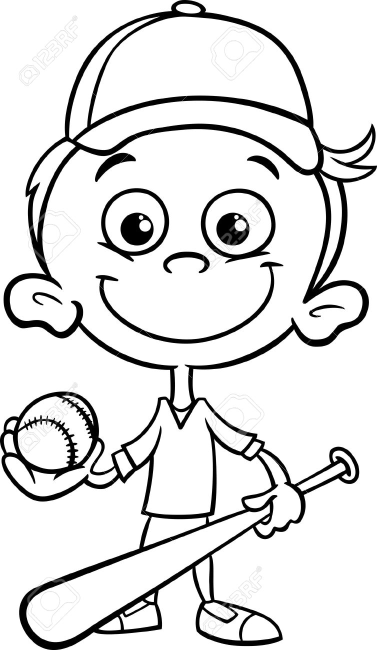 Black And White Cartoon Illustration Of Funny Boy Baseball Player With Bat Ball For Coloring